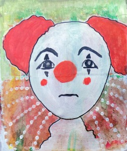 sad clown painting