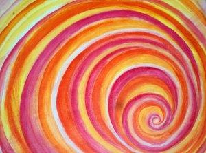 Colorful Pink Orange violet Yellow Fibonacci Swirl