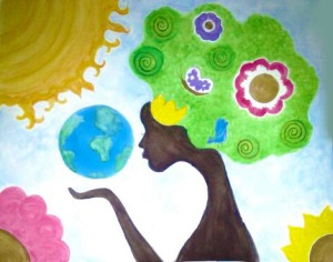 artistic representation of mother nature acrylic painting