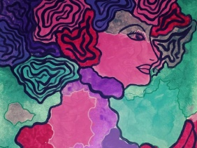 colorful woman acrylic painting
