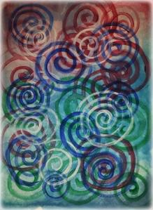 colorful circles watercolor painting