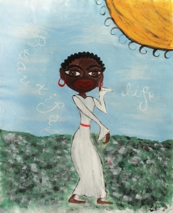 African American Woman Painting