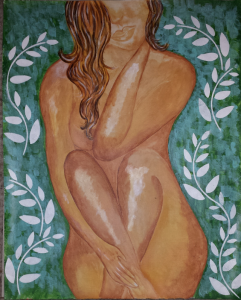 acrylic painting of nude ethnic woman