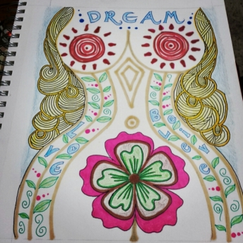 zentangle illustration drawing in color pencil and marker of hippie woman with inspirational text