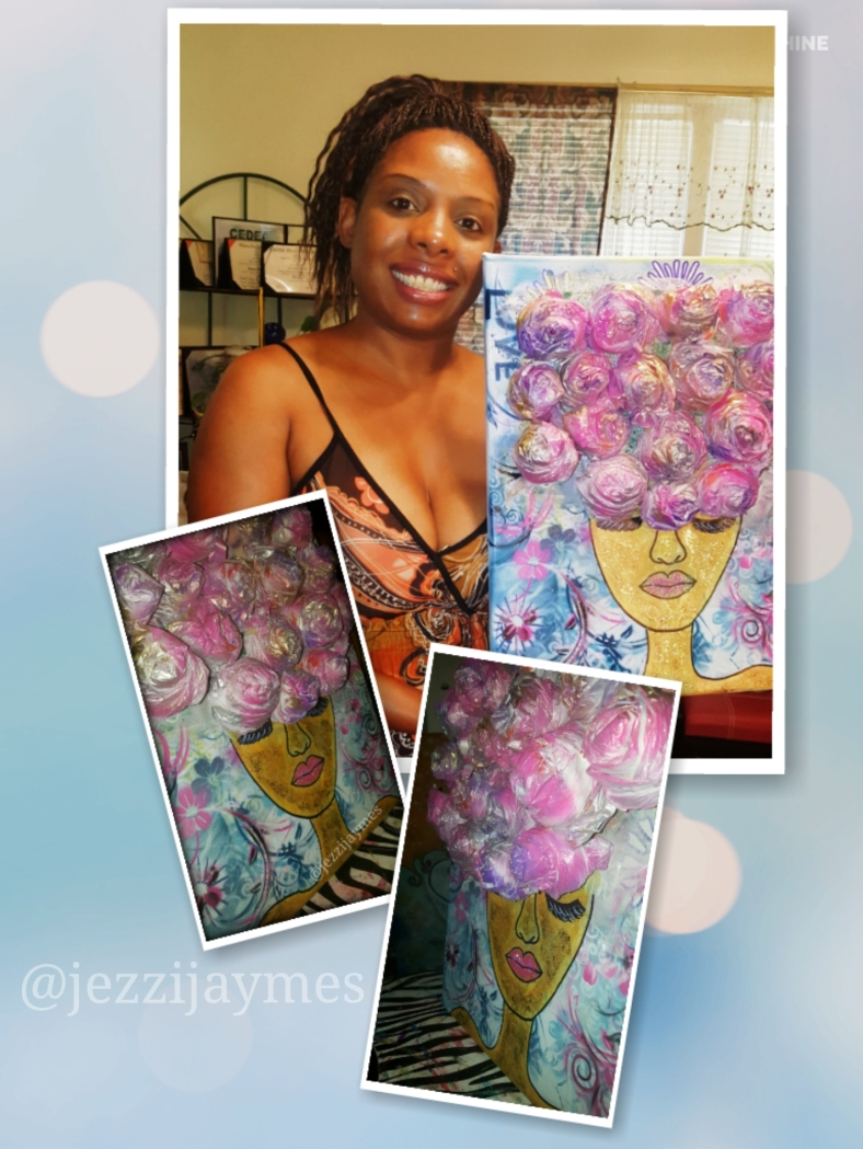 Afrocentric ebony queen flower painting