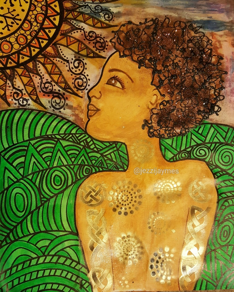 African American afrocentric black art of child and sun