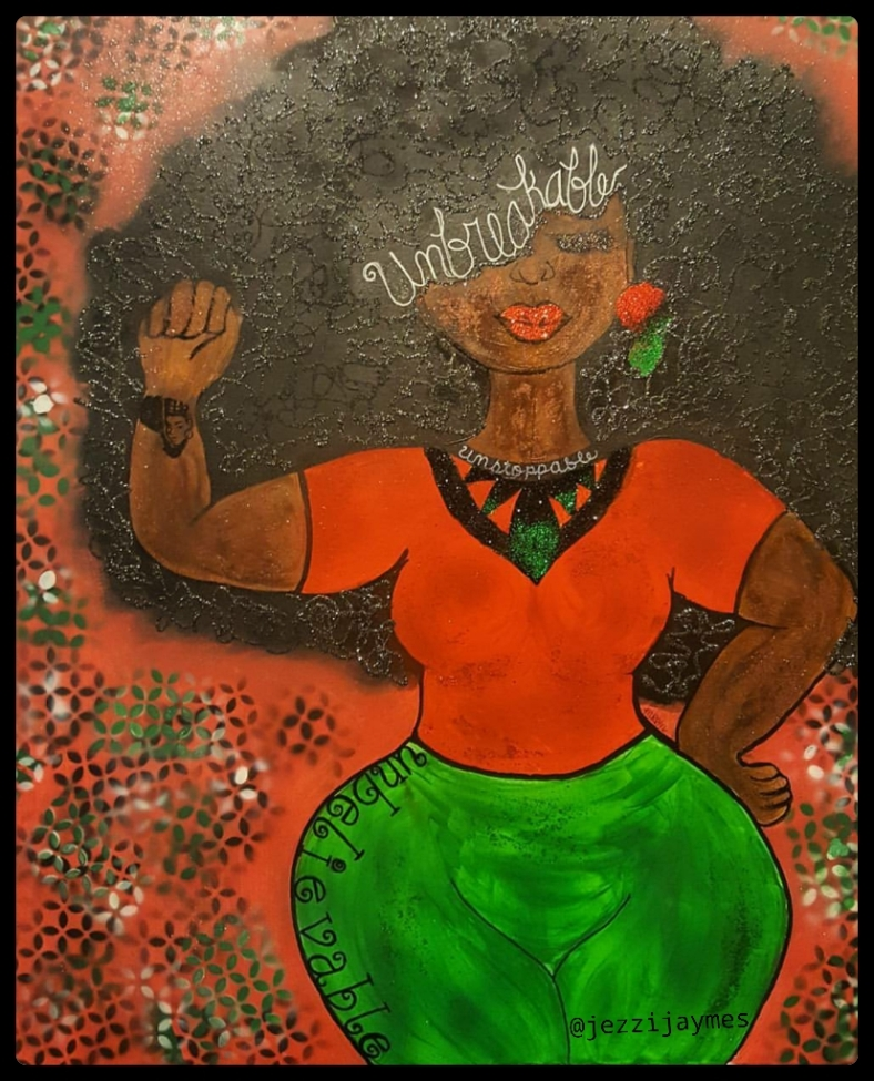 Afro afrocentric black queen empowering painting