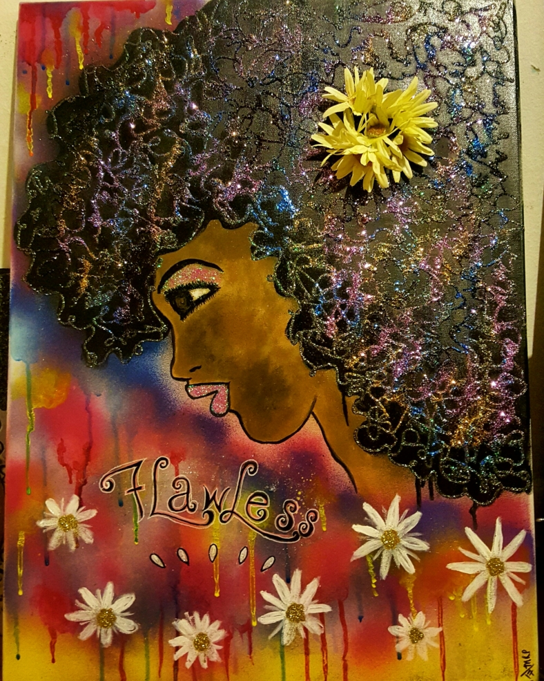 Black queen goddess art painting Maya Perez